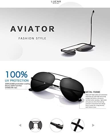 LUENX Aviator Sunglasses Men Women NonMirror Polarized UV400 Metal Frame 60MM 9Black 60