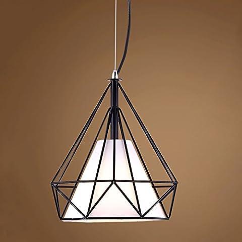 Bird Cage Rustic Loft Pyramid Lamp Style Edison Pendant Ceiling Light Chandelier,Industrial Retro Diamond Shape Hanging Ceiling Light for Kitchen Bar Bedroom Decor (38CM, Black + White Lamp - Diamond Style Light
