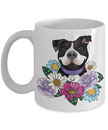 Pitbull Mug | White - Black Pit Bull With Flowers | Pitbulls Dog Portable Novelty Ceramic Coffee Cup | Pit Bull Themed Gifts For Women Mom Sister Grandma Friend | Lovers Owner Woman Presents