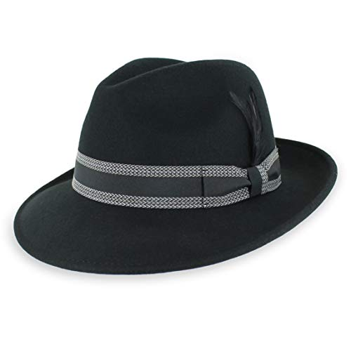 7a68f9940a89b Belfry Crushable Dress Fedora Men s Vintage Style Hat 100% Pure Wool in  Black Blue Grey