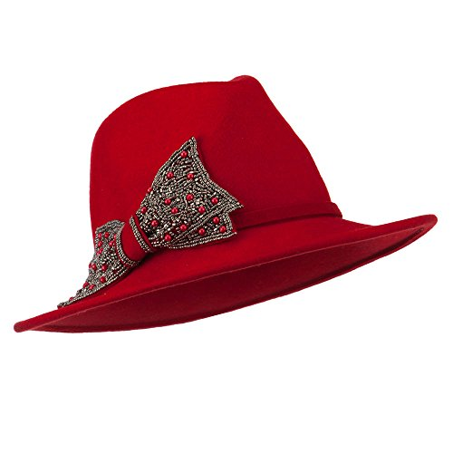 Wool Felt Fedora with Beaded Bow - Red OSFM