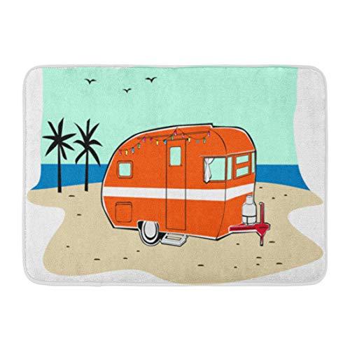 Emvency Doormats Bath Rugs Outdoor/Indoor Door Mat Blue Camper Retro Happy Hippie Vintage Tiki Beach Travel Trailer Red Van 50S Bathroom Decor Rug Bath Mat 16
