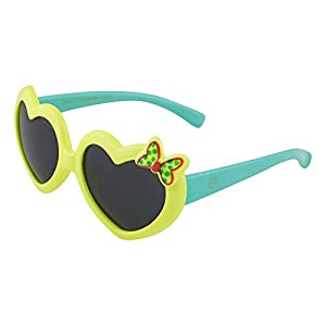 Kids Flexible Rubber Sunglasses for Boys and Girls - Light Yellow and Blue Heart Shaped Bendable and Unbreakable Frame with Butterfly - 100% UV Protection and Polarized Lenses - By Optix 55