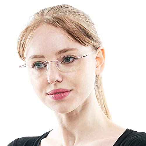 - SOOLALA High End Lightweight Titanium Stainless Steel Rimless Reading Glasses, Pink, 2.5x