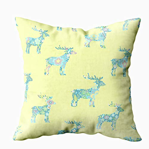 Douecish Palm Print Case,Seamless Floral Pattern Florl Deers Lemon Yellow Backgorund,Throw Pillow Covers,Cushion Soft Home Sofa Decorative Throw Pillow Cases