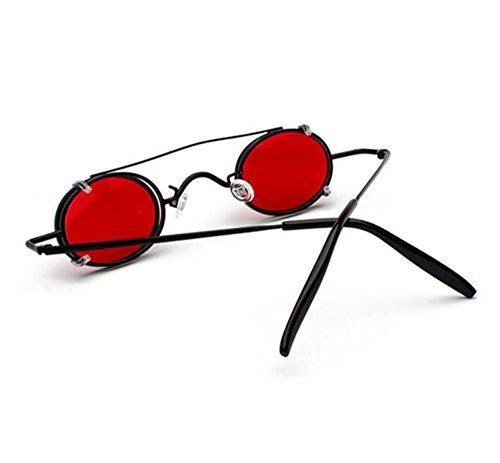 Hellomiko ovales et lunettes Punk non femmes Noir soleil de polarisée UV400 Rouge Style Rétro vintage hommes amovibles Hippie 4OwRr4q