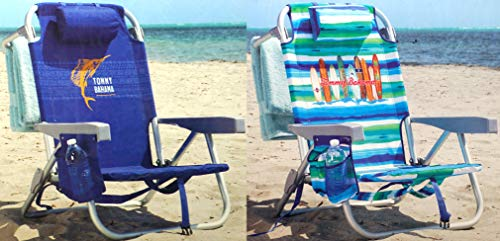 Tommy Bahama Backpack Chair - Insulated Cooler Pouch - 5 Positions (Blue + Ocean Stripes)