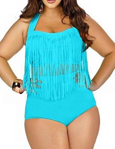 Uniarmoire Womens Plus Size High Waist Fringe Swimwear Two Piece Swimsuit Blue -