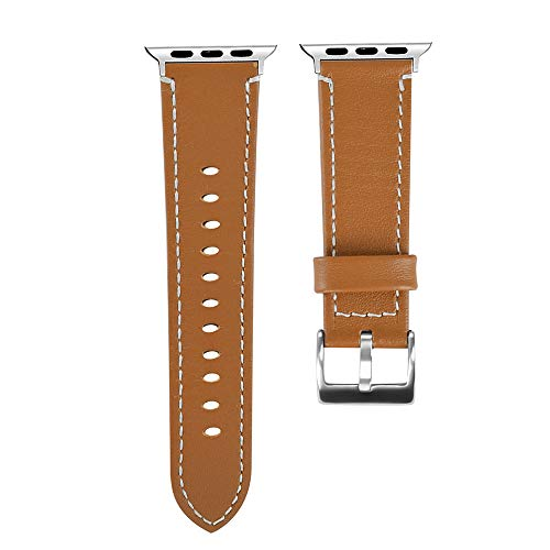 Price comparison product image Tiean Fashion Smooth Durable Apple Watch Series 4 44mm Elegant Well Handmade Anti-fall Strong Clasp Sports Dating Sports Wristband Watchband Bracelet Belt Popular for Men Women Boys Girls (Brown)