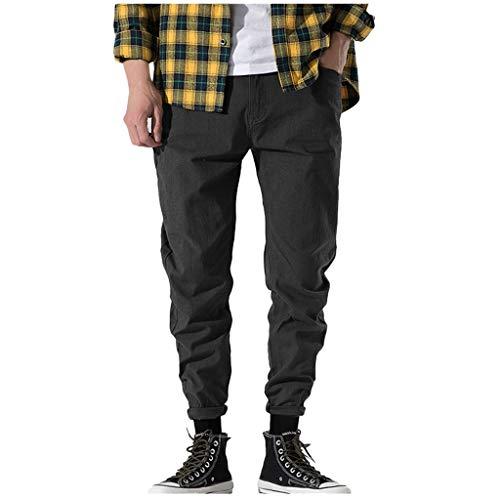 TANLANG♥2019 Men Casual Outdoor Pocket Beach Solid Trousers Long Pants Color Beam Foot Pant Gray