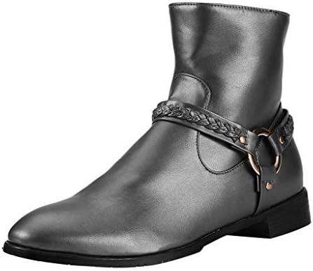 [해외]Men Women Dress Boots Casual Buckle Strap Ankle High Shoes with Zipper / Men Women Dress Boots Casual Buckle Strap Ankle High Shoes with Zipper (US:13, Sliver)