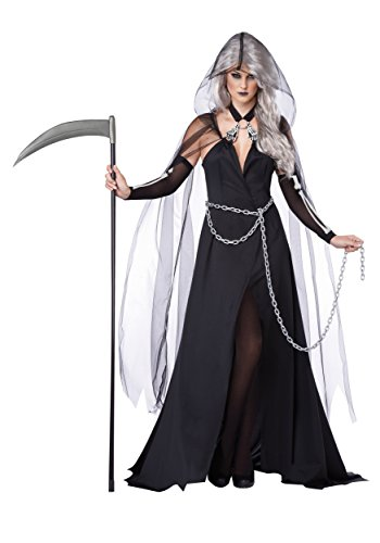 Lady Death Costume (California Costumes Women's Lady Reaper Scary Ghost Demon Costume, Black, Large)