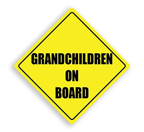 hiusan Grandchildren On Board Yellow Child Safety Vinyl Car Sign
