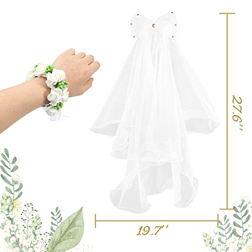 3 otters Flower Girl Veil, Communion Veils for Girls Lace Flower Veil Girls First Communion Veils Children\'s Wedding Veil with a White Wristband