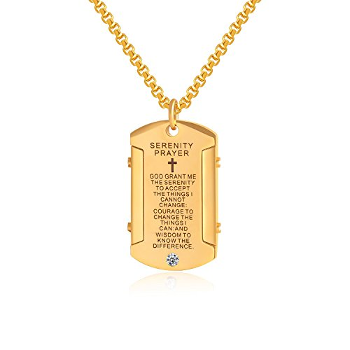 (Godcow Stainless Steel Cross and Serenity Prayer Gold Dog Tag Pendant Necklace with Diamond, Chain 22