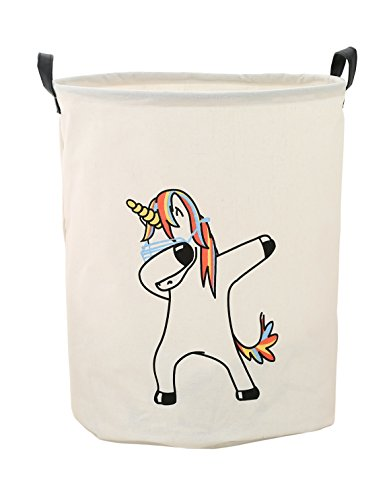 Storage Bin,Canvas Fabric Collapsible Organizer Basket for Laundry Hamper,Toy Bins,Gift Baskets, Bedroom, Clothes,Baby Nursery(Danceing Unicorn) by LANGYASHAN