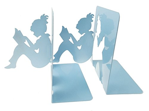 3D Paper-cut Little Girl Is Reading Patten Metal Bookends Book Ends For Kids Teenagers Teachers Students Adults Study Home School Library Office Decoration Birthday Christmas Gift (Light blue) (Library Home Office)