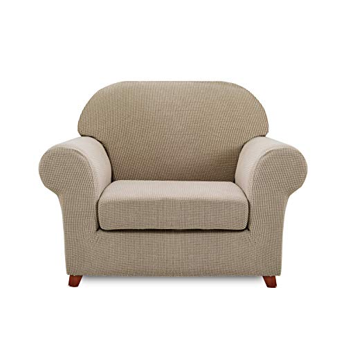 - Hokway 2-Piece Stretch Sofa Slipcover Spandex Couch Cover Anti-Slip Stylish Jacquard Furniture Protector (Chair, Khaki)