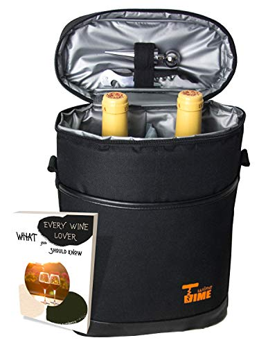 SIMI'S WT - 2 Bottle Wine Carrier Bag - Cool your Wine Today & Keep it Safe with your Durable Wine Travel Bag - Don't break it, drink it   FREE Corkscrew & Wine Stopper FREE eBook for Wine Ideas