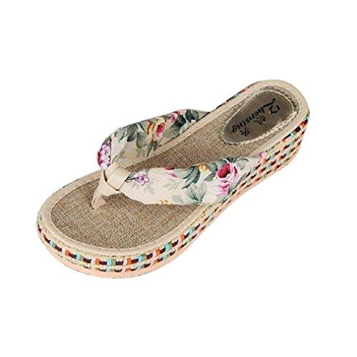 bescita Sommer Frauen Keil Plattform Thong Flip Flops Lässige Hausschuhe Badeschuhe (39, Beige)