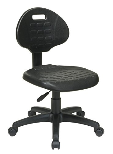 (Office Star Urethane Seat and Back Contour Task Chair with Built-in Lumbar Support, Black)