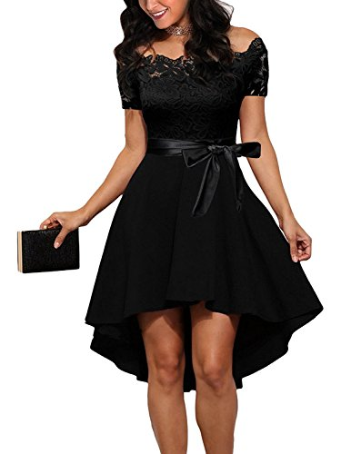 Dreaweet Women's Off Shoulder Lace Boat Neck Vintage Cocktail Party Wedding Dresses Black Medium Cocktail Wedding Dress Gown