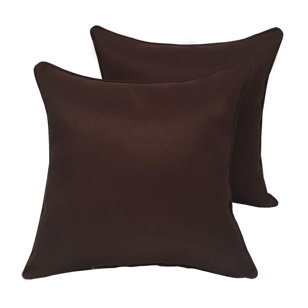 Vanteriam 2 Pack Decorative Outdoor Solid Waterproof Throw Pillow Cover with Piping, Accent Pillow case for Outdoor Patio Furniture Set, Square 18''x18'' Dark Brown