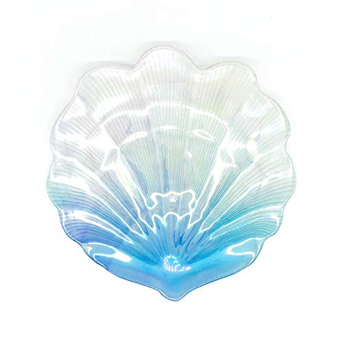 MIYA LIFE 1Pcs Iridescent Blue Sea Shell Glass Dessert Plate in Ocean Style for Cool Summer Party Chip Fruit Salad Dishes Cake Platter (Candy Shell Dish)