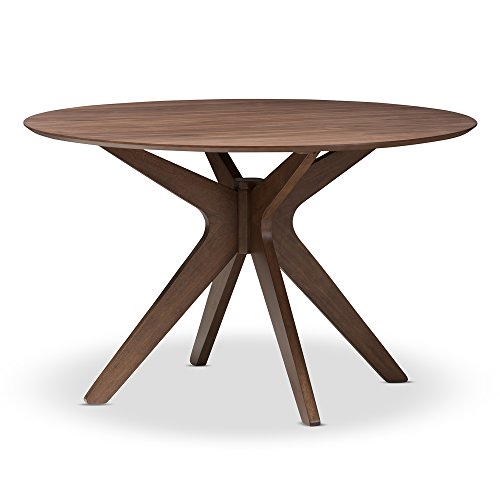 - Baxton Studio Lyla Mid-Century Modern Walnut Wood 47-Inch Round Dining Table, Walnut Brown