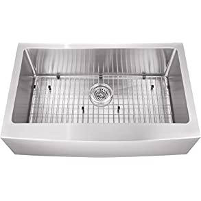 0233APSB 33'x20'x10 Single Bowl Farmhouse Apron Front Farm House 16 Stainless Steel Sink INCLUDES- Grid and Strainer