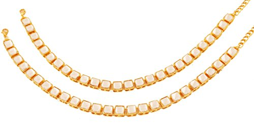 NEW! Touchstone Indian Bollywood Exclusive Mughal Era Inspired Stylish Traditional Kundan Polki Look Designer Jewelry Wedding Payal Paazeb'' Pair Of Anklets'' In Antique Gold Tone For Women. by Touchstone