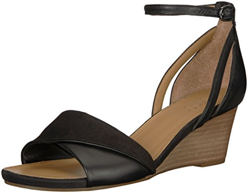 Franco Sarto Women's Deirdra Wedge Sandal, Black, 6 W US