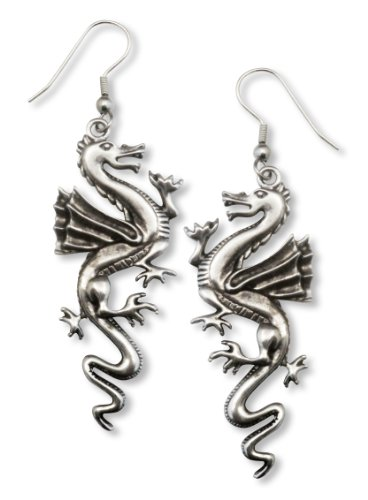 - Classic Dragon Dangle Earrings Silver Finish Pewter