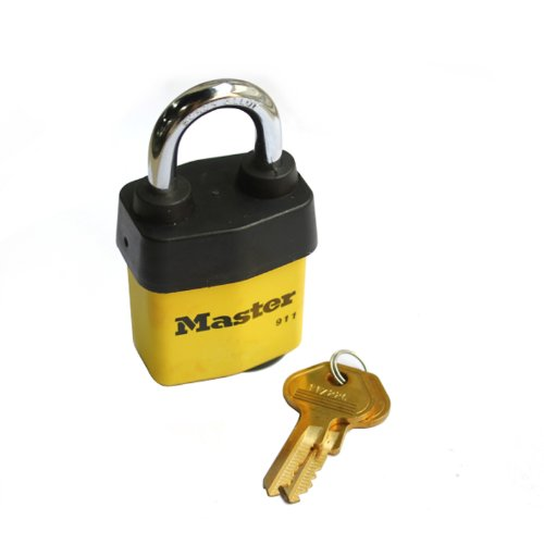 Master Lock Padlock, Covered Laminated Steel Lock, 2-1/8 in. Wide, 911DPF