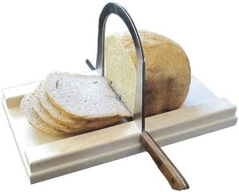 Bread Slicer Elite, Brushed Stainless Steel Guide and Maple Wood Bread Board (5 Inch Loaf)