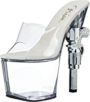 Pleaser Women's Revolver-712 Sandal,Clear/Clear,6 M US