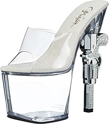 Pleaser Women's Revolver-712 Sandal,Clear/Clear,5 M US