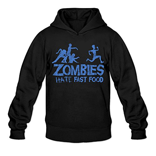 (Funny Zombies Hate Fast Food Classic Men's Hooded Sweatshirts Black)
