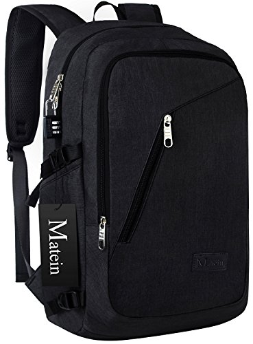 Laptop Backpack, School Bag with USB Charging Port for Women & Men- Business Computer Sleeves Fits Slim Notebook / Tablet UNDER 17 inch, Lock Included by Matein - Black