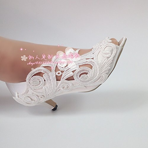 5 Satins Vivioo High Sandals Woman Sandals With Prom 5 Shallow Bridesmaid Wedding Peep Shoes Toe Lace Bride Marriage Silks And q74Uq