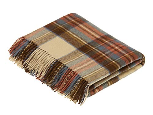 Moon Wool Plaid Throw Blanket, Pure New Wool, Antique Dress Stewart Tartan, Made in UK (Antique Blanket Wool)