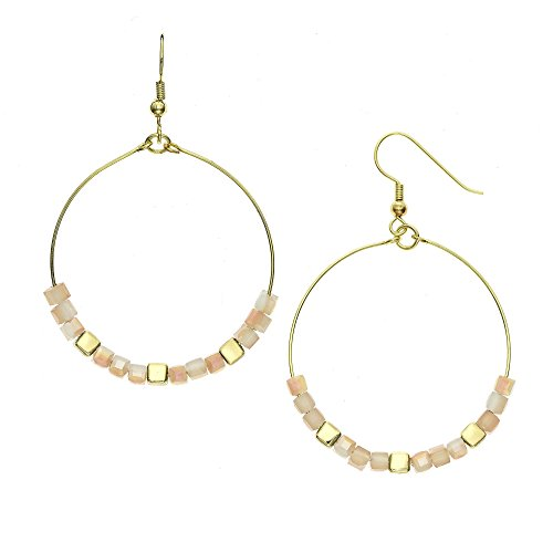 Cube Birthday Glass (14K Gold, Rose Gold, or Rhodium Plated Cube Glass Bead Hoop Earrings with 8 Color Options, 30mm)