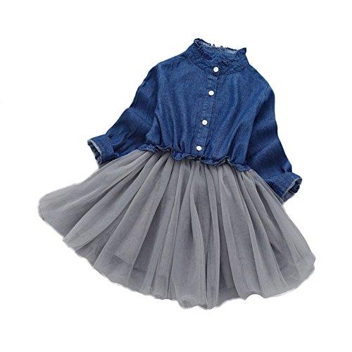 WeeH Girl Dress Tutu Skirt Jean Top Long Sleeves Wedding Ruffle Dresses