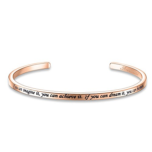 Annamate Inspirational Quote Bar Bracelet Engraved Message Bracelets, Cuff Bracelets, Women Jewelry (If You can Imagine it, You can Achieve it. If You can Dream it, You can Become it. - Rose Gold) ()
