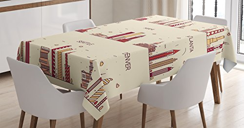 Apartment Decor Tablecloth by Ambesonne, American Cities San Francisco New York Chicago Los Angeles Miami Silhouette, Dining Room Kitchen Rectangular Table Cover, 52 X 70 (Party City Miami Lakes)