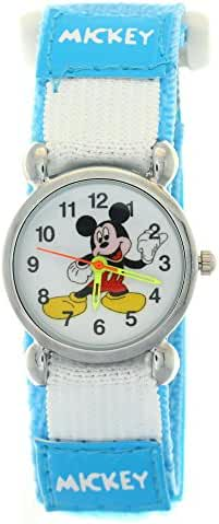 TimerMall Disney Cartoon Mickey Mouse Light Blue Nylon Velcro Tape Quartz Kids Watches