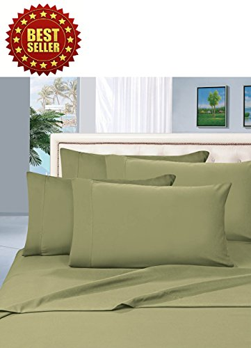 Celine Linen Wrinkle and Fade Resistant HIGHEST QUALITY 1800 Series Luxurious 4-Piece Bed Sheet Set, Deep Pocket up to 16 inch, Queen Sage/Green