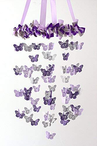 Butterfly Nursery Ceiling Mobile in Lavender, Purple & Gray