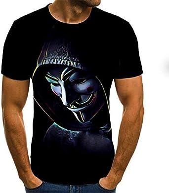 De los Hombres 3D Payaso Camiseta, la Cara de Payaso Gracioso encabeza Manera Impresos de Manga Corta Cuello Redondo Camisa de Moda Streetwear (Size : XS): Amazon.es: Ropa y accesorios