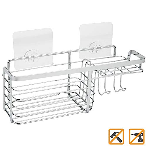 Joyfamy No Drilling Adhesive Shower Caddy - Stainless Steel Bathroom Kitchen Storage Shelf Basket for Soap, Shampoo and Shower ()